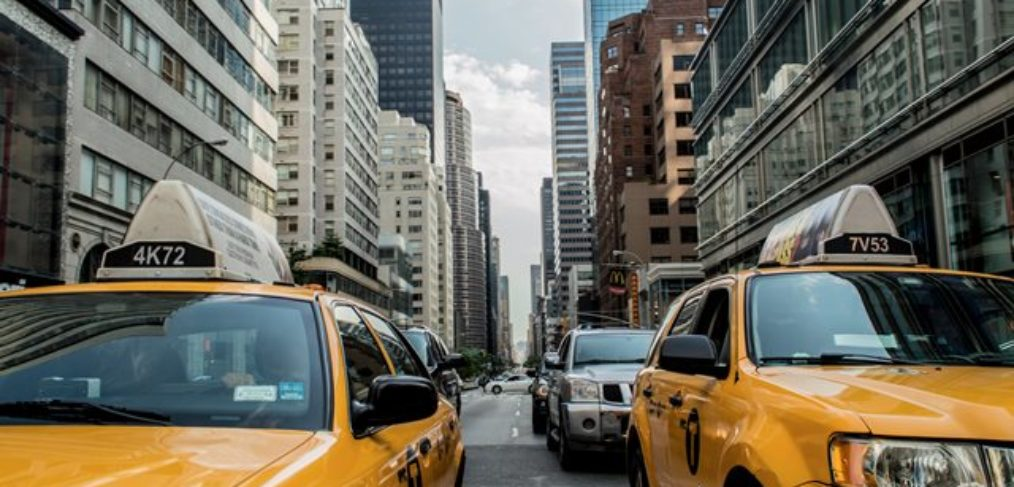New York-Urlaubsreise USA-Taxi im Verkehr